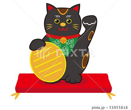 猫 招き猫 座布団 小判 黒猫 53955818