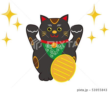 猫 招き猫 小判 黒猫  53955843