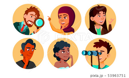 Curious Happy Multicultural Character Set Vector 53963751