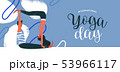 Yoga Day banner of happy couple exercising 53966117