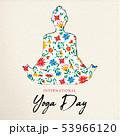 Floral yoga day card of girl doing meditation 53966120