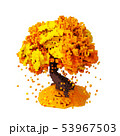 Digital Pixelated Falling Leaves From An Autumn Tree Isolated Over White Background 53967503