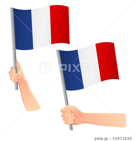 France flag in hand icon 53971630