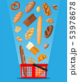 Bread icons and shopping basket. 53978678