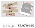 2020年年賀状 ねずみ柄のマスキングテープ 写真スペース付き 53979445