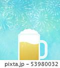背景-ビール-ジョッキ-ブルー-花火 53980032