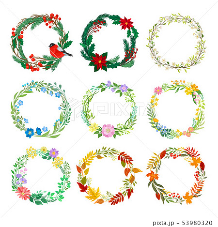 Set of decorative wreaths on the theme of different seasons. Vector illustration on white background 53980320