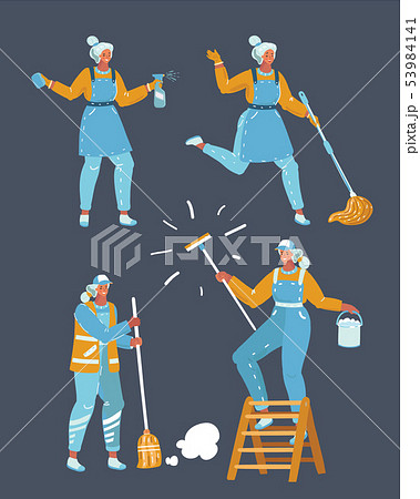 Workers of cleaning company. 53984141