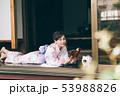 縁側で本を読む浴衣の女性 53988826