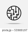 Circuit board icon vector. Thin line icon. Quantum 53989197