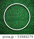 Circular white frame edge on green grass with shadow background. 53989279