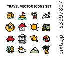 Travel journey tour trip voyage sea rest vector icons set. 53997807