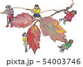 落ち葉と子どもたち 54003746