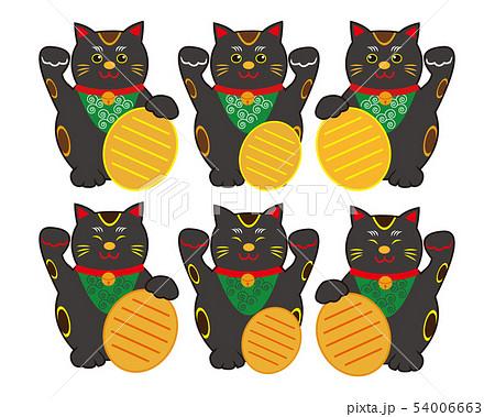 猫 招き猫 小判 黒猫  54006663