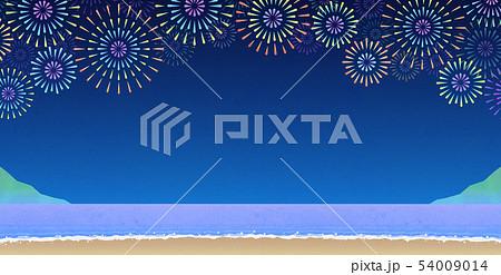 背景素材_浜辺の花火大会 54009014