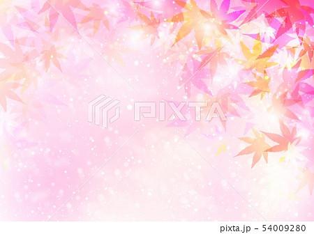 ピンク背景秋色キラキラ紅葉 54009280