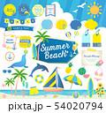 夏のビーチ、海と空/見出しフレーム吹き出しセット 54020794