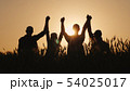 A group of successful young people hold hands, together they raise their upper hand. Successful team 54025017
