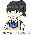 ポニーテールの女子学生 半袖 54026581
