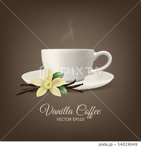 Vector Background with 3d Realistic Composition - White Cup of Coffee, Sweet Scented Fresh Vanilla 54029049