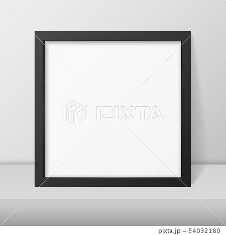 Vector 3d Realistic Modern Interior Black Blank Vertical Square Wooden Poster Picture Frame on Table 54032180
