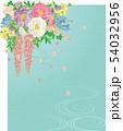 和風の花と流水.背景素材. 54032956