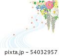和風の花と流水.背景素材. 54032957