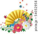 花と扇子.和風背景素材. 54032958