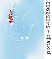 泳ぐ錦鯉と波紋. 和風素材. 54032962