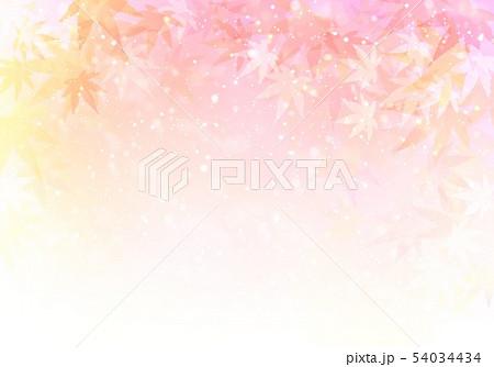 ピンク背景キラキラ紅葉 54034434