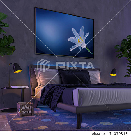 Multicolor interior lights - bedroom. 3D 54039313