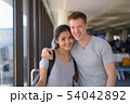 Portrait of young multi-ethnic couple enjoying vacation together 54042892