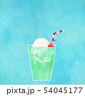 背景-夏-クリームソーダ-ブルー 54045177