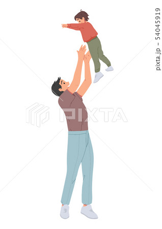Father throwing his son. Man throws little boy up and catching him. Parent playing with kid 54045919