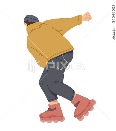 Boy ride on roller skates. Young man riding 54046035