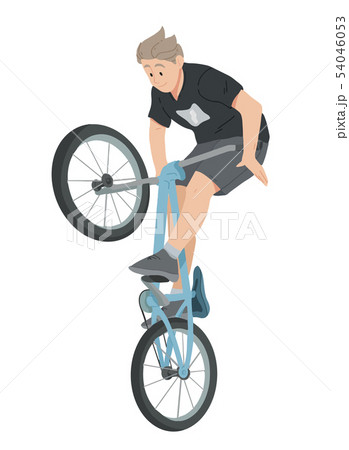 Boy riding bicycle, teenager on bike vector 54046053