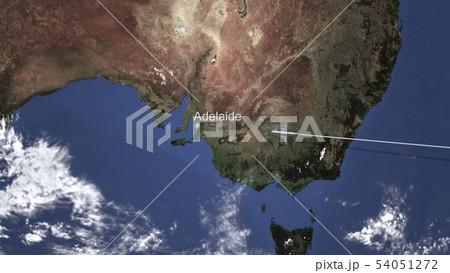 Plane arriving to Adelaide, Australia from east, 3D rendering  54051272