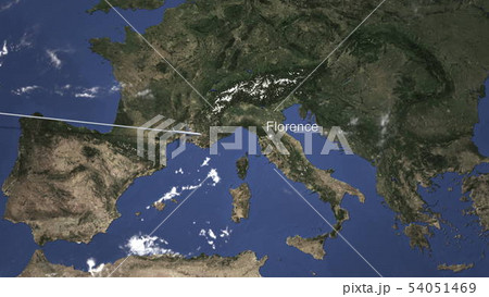 Plane arriving to Florence, Italy from west, 3D rendering  54051469
