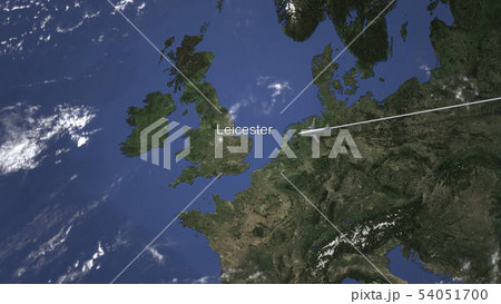 Airliner flying to Leicester, United Kingdom from east. 3D rendering  54051700