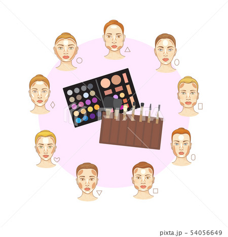 Flat vector set of different woman face types with make up brushes and color tones . Cosmetic makeup 54056649