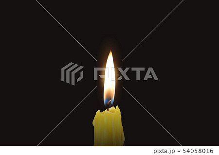 Vector 3d Realistic One Single Rendwer Orange Paraffin or Wax Burning Candle Closeup Isolated on 54058016