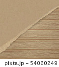 Torn brown texturing paper over a wooden wall. 54060249