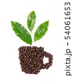 roasted coffee bean with leave on white background 54061653