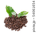 roasted coffee bean with leave on white background 54061654