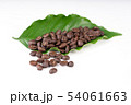 roasted coffee bean with leave on white background 54061663