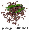 roasted coffee bean with leave on white background 54061664