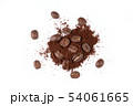 roasted coffee bean with powder on white 54061665