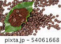 roasted coffee bean with leave on white background 54061668