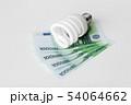 close up of energy saving lightbulb and euro money 54064662