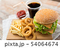 close up of hamburger and other fast food 54064674